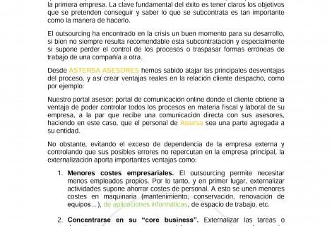 VENTAJAS DE LA EXTERNALIZACIÓN (outsourcing)